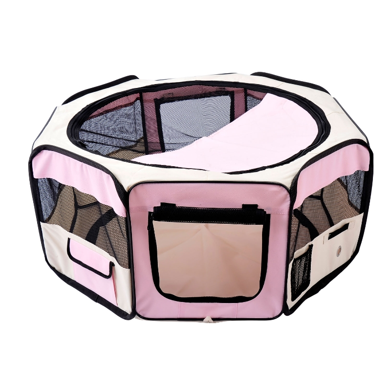 PawHut Fabric Pet Dog Playpen 37x37x95 cm-Pink/Cream