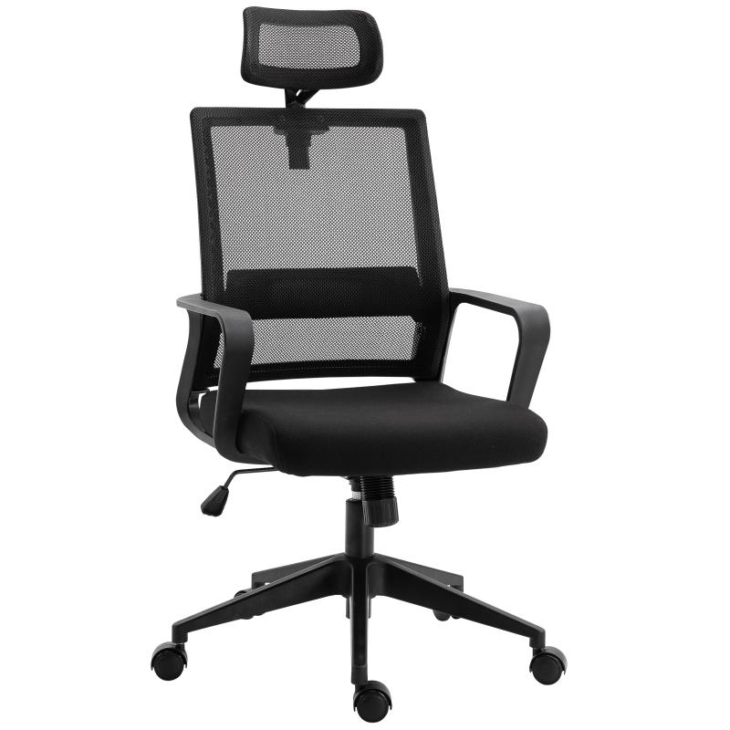 HOMCOM Nylon Ergonomic Rocking Office Chair Black