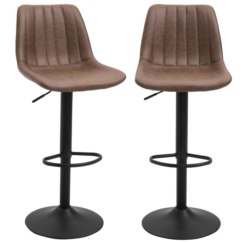 HOMCOM PU Distressed Leather Twin-Pair Height Adjustable Barstools Brown