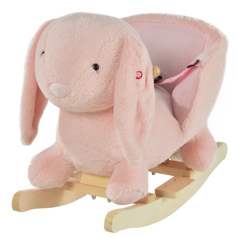 HOMCOM Toddlers Rabbit Plush Rocking Ride On w/ Sound Pink