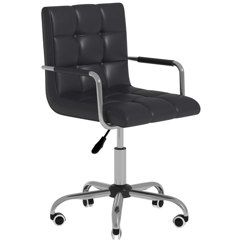 HOMCOM PU Leather Computer Chair, Adjustable Height-Black