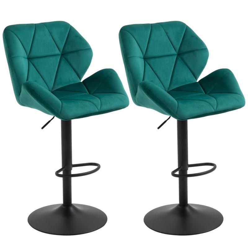 HOMCOM Set Of 2 Luxurious Velvet-Touch Bar Stools w/ Metal Frame Footrest Base Green