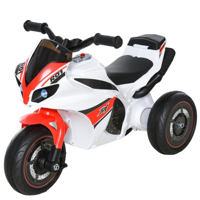 HOMCOM Toddlers 3-Wheel Plastic Motorcycle Push Walker Red/White