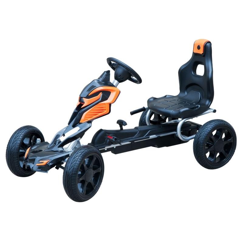 Homcom Pedal Go Kart Children'S Go Karts W/Eva Wheels -Orange/Black