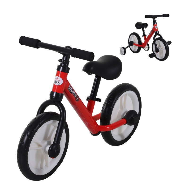HOMCOM Kids Balance Training Bike Toy w/ Stabilizers Suitable For Child 2-5 Years