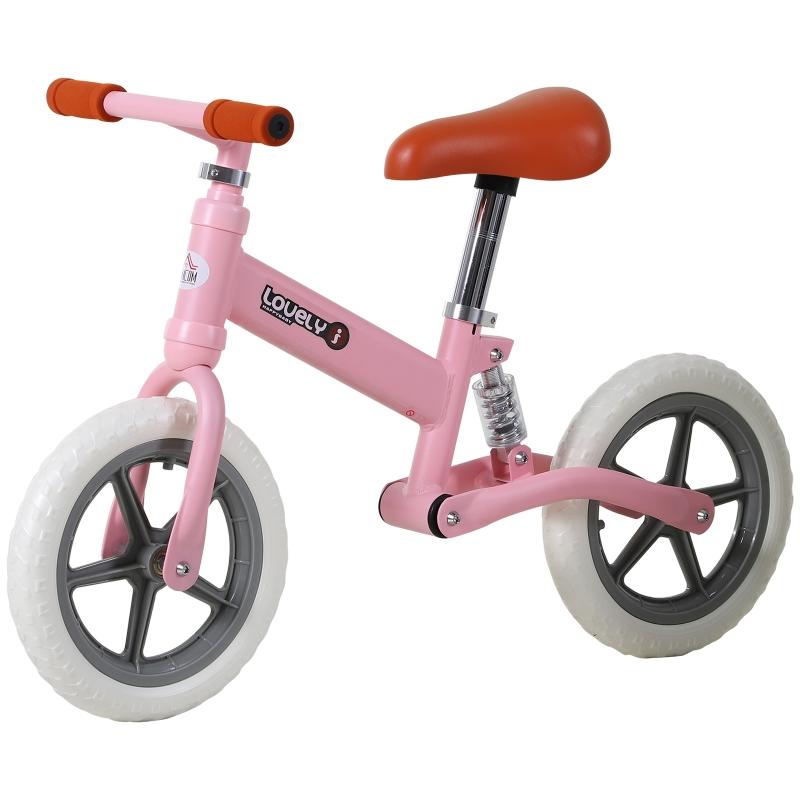 HOMCOM Toddler Balance Bike No Pedal Walk Training Pink