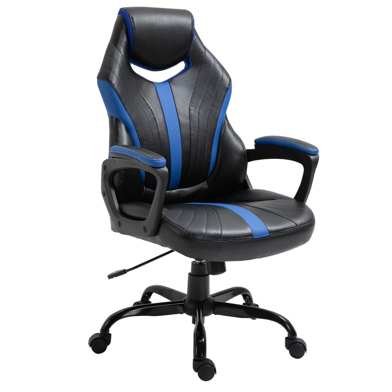 Vinsetto Gaming Chair Swivel Home Office Computer Racing Gamer Desk Chair, Black Blue