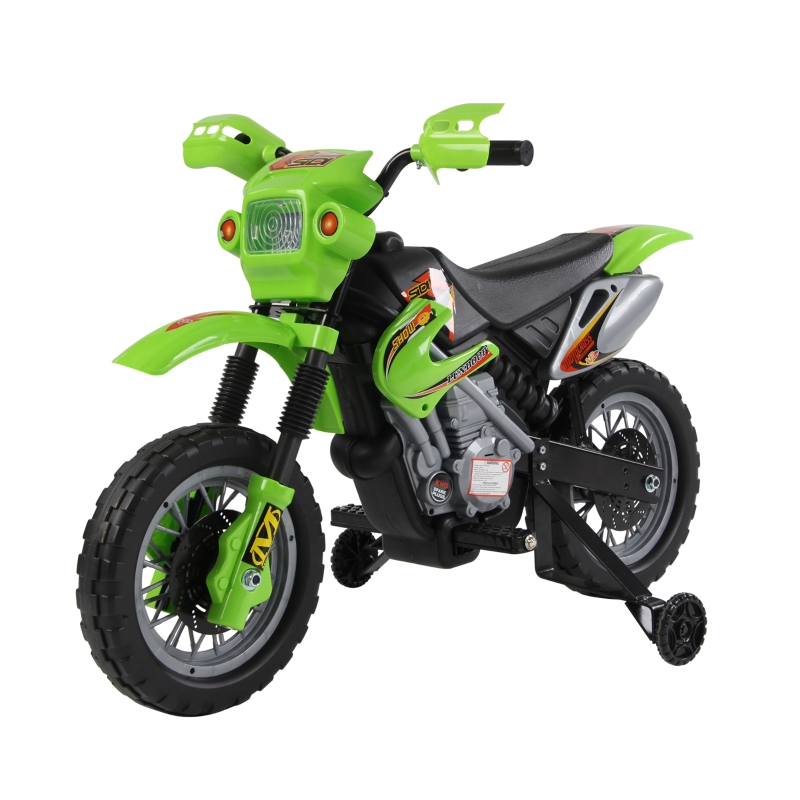 HOMCOM 6V Children's PP Electric Ride-On Motorbike with Effects Green