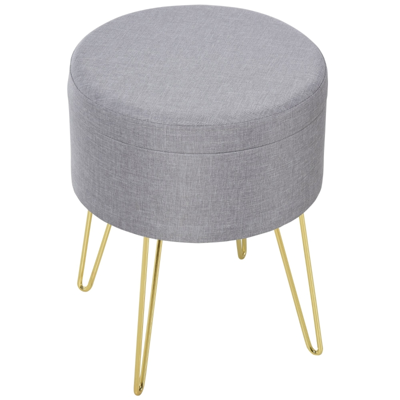 HOMCOM Polyester Upholstered Round Ottoman Footstool Grey/Gold