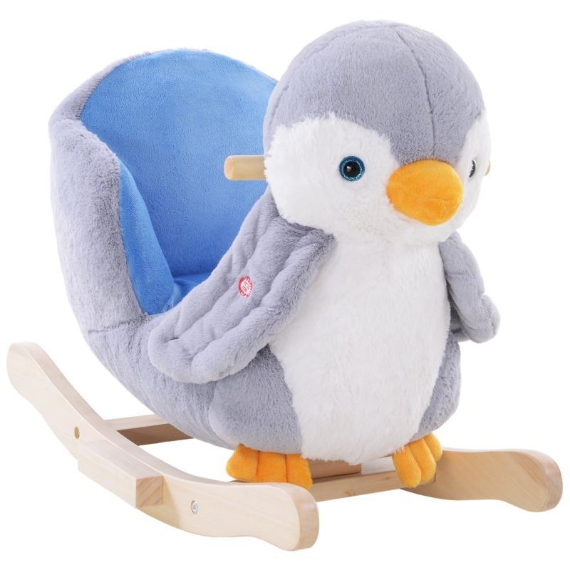 HOMCOM Rocking Animal Horse Penguin Colourful Plush Musical Button 32 Songs Wide Seat Handlebar Multicoloured