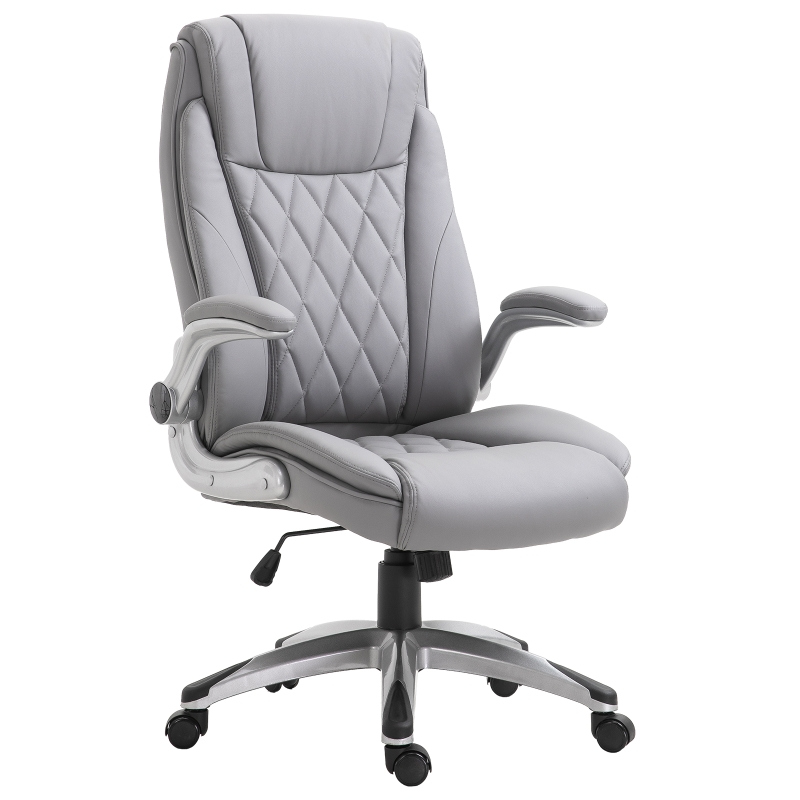 Vinsetto Executive Office Chair Sleek Ergonomic PU Leather 360 Rotation w/ Headrest in Grey