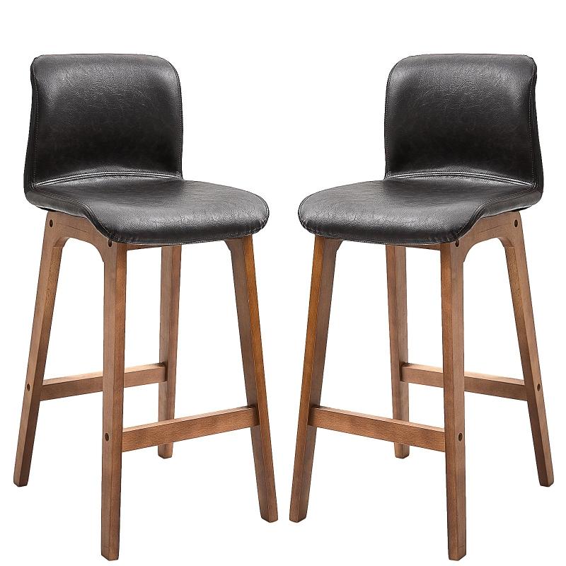 HOMCOM PU Leather Set of 2 Bar Stools w/ Footrest Black/Brown