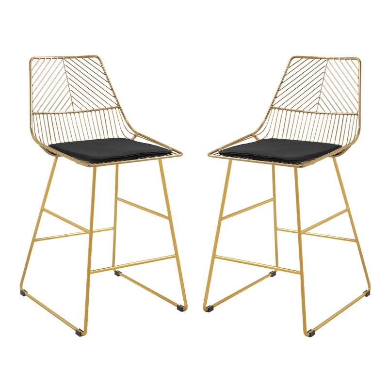 HOMCOM Modern Counter Height Bar Stools Set of 2 pcs Wire Metal Barstools for Kitchen