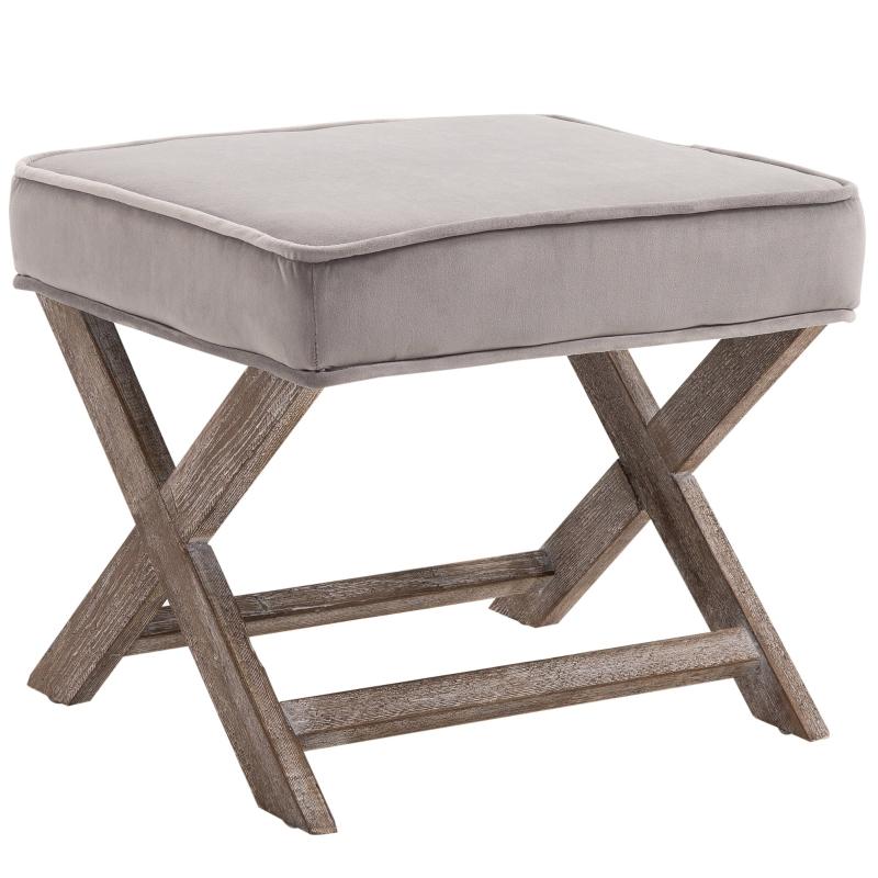 HOMCOM Vintage Footstool Padded Seat X Shape Chair Velvet Cover Shabby Footrest Grey
