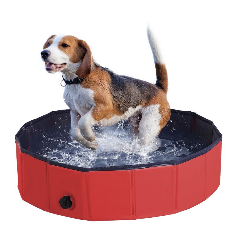 PawHut Pet Swimming Pool, Foldable, 80 cm Diameter-Red