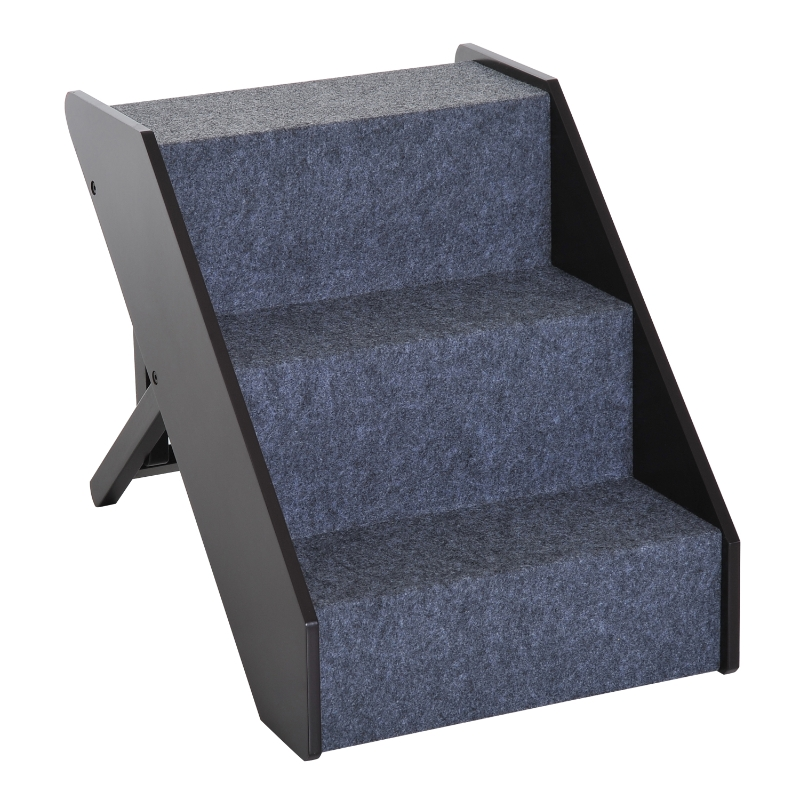 Pawhut Pet-3 Steps Ladder Ramp-Dark Brown