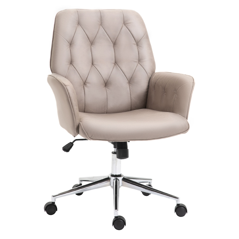 Vinsetto Tufted Desk Chair w/ Arm Rest on Wheels Grey