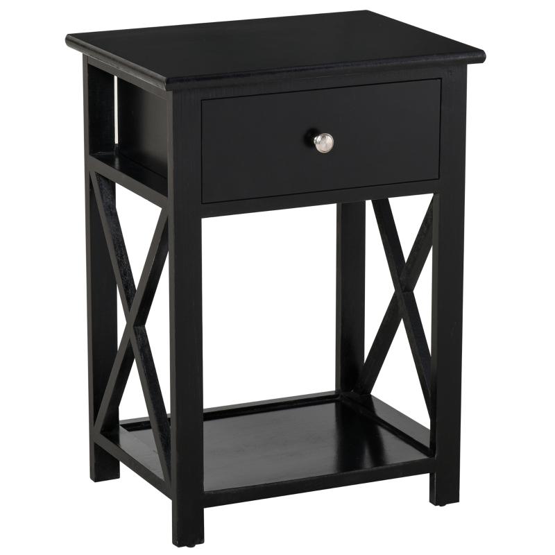 HOMCOM MDF 2-Tier Side Table w/ Drawer Black