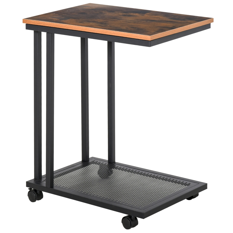 HOMCOM Mobile Sofa Side End Coffee C Table Laptop Stand Rolling Castors Storage Trolley