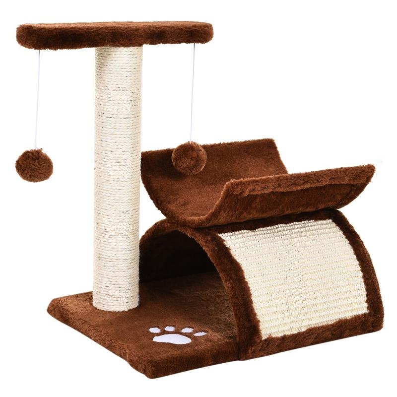 PawHut Cat Tree Plush Scratcher Kitty Activity Play Center Top Bar Tunnel Dangling Ball