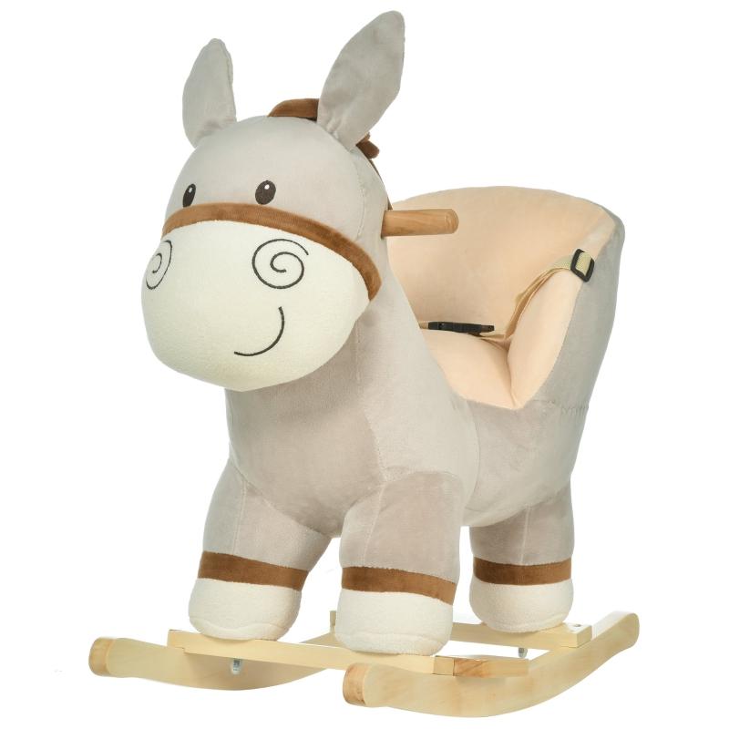 HOMCOM Toddlers Donkey Plush Rocking Ride On w/ Sound Grey