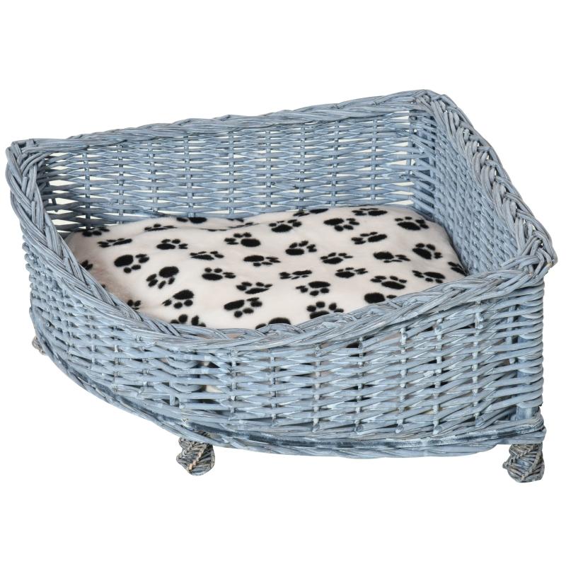PawHut Wicker Dog Corner Basket Pet Bed Sofa Couch w/ Soft Plush Cushion Elevated Base