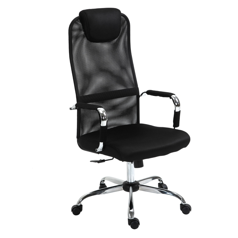 Vinsetto Office Chair Mesh Fabric Swivel Desk Chair Home Study Rocker with Wheel, Black