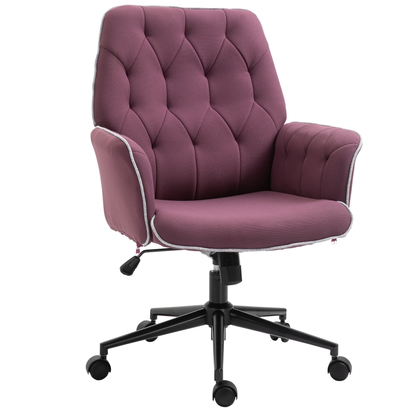 Vinsetto Tufted Desk Chair w/ Arm Rest on Wheels Purple