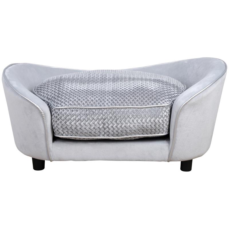 PawHut Pet Sofa Small Sized Dog Sponge Cushioned Soft Plush Bed Lounge Gray