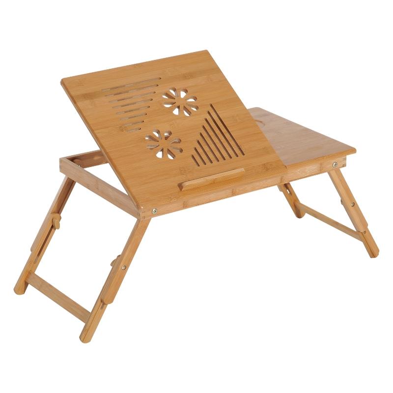 HOMCOM 55Lx35Wx 22-30H cm Portable Bamboo Laptop Desk-Bamboo