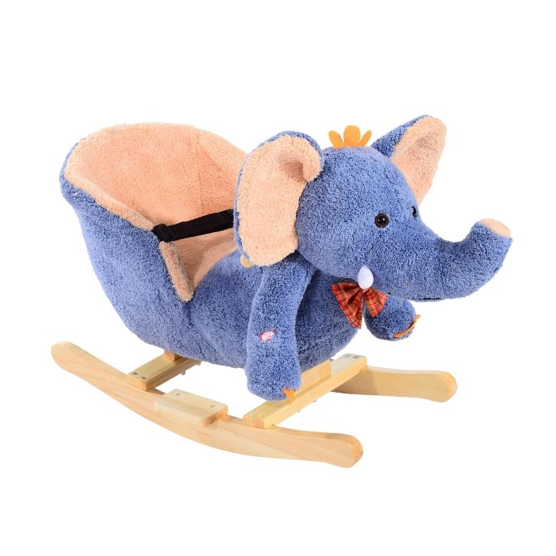 HOMCOM Children Rocking Seat with Sound, Elephant-Blue/Beige