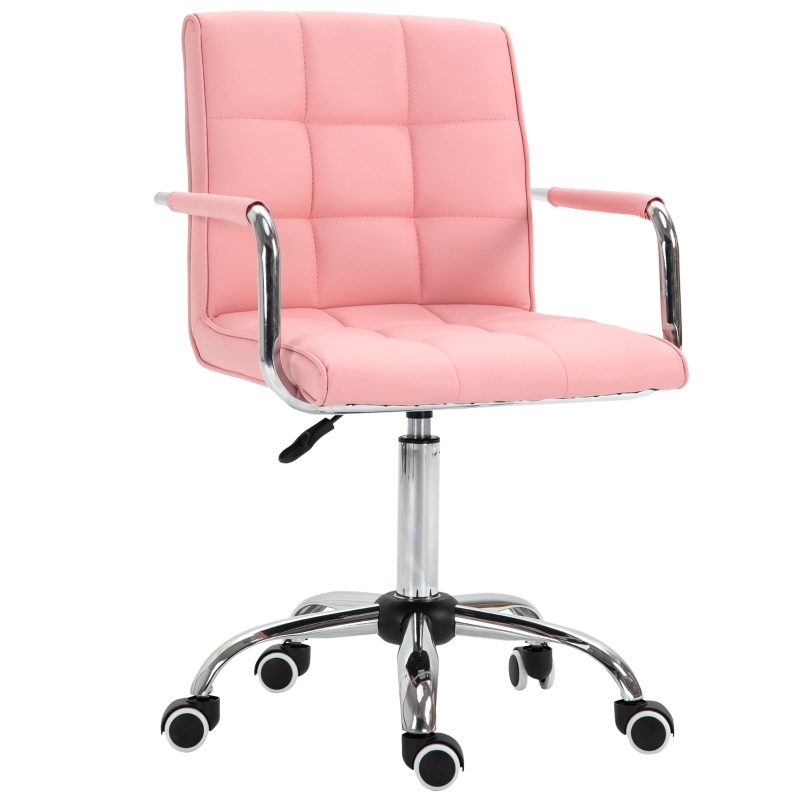 Vinsetto Executive PU Padded Swivel Office Chair With Adjustable Height - Pink