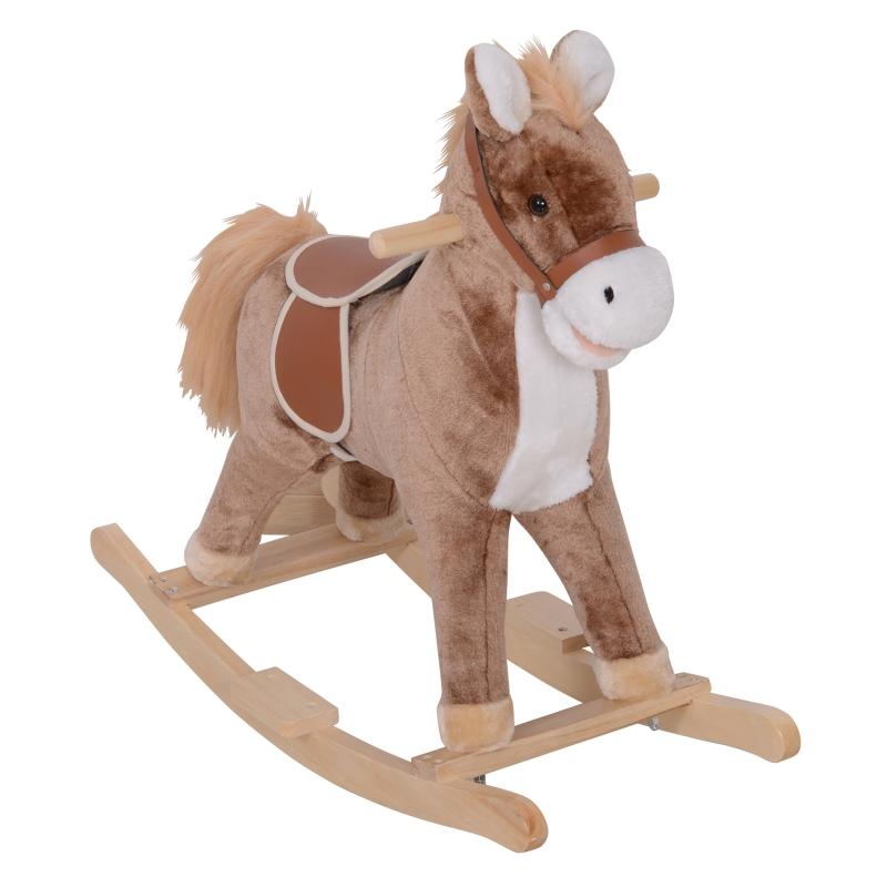 HOMCOM Baby Horse Rocker Kids Rocking Horse Animal Rocker Wooden Ride On Horse Kids Plush Rocking Horse - Brown/White