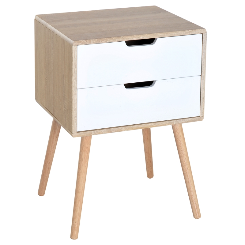 HOMCOM Side Cabinet, 50Wx40D x70H cm-Natural Wood Colour