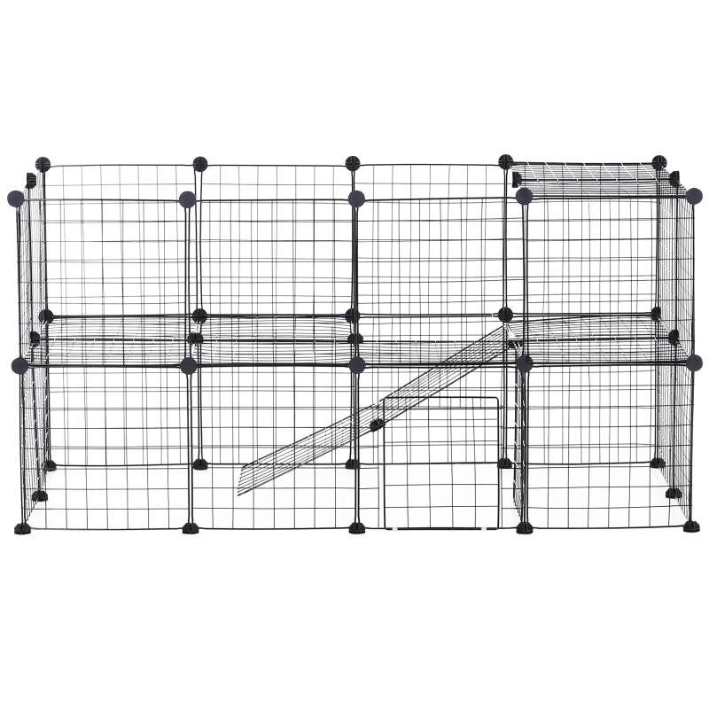 PawHut Small Animal Playpen with Mallet, Connectors and Cable Ties Metal Mesh 36 pcs