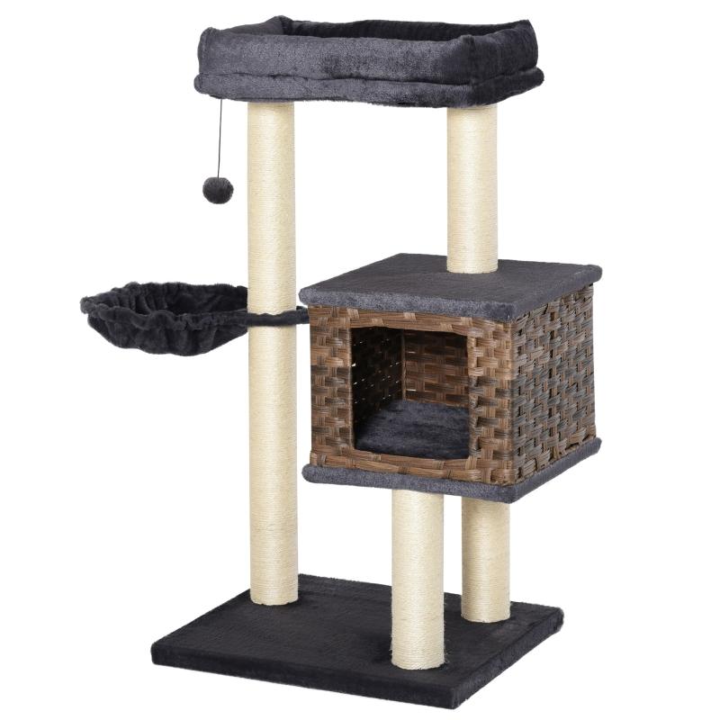 PawHut Cat Tree Tower w/ Sisal Posts Condo Hanging Ball Cushion Perch PE Rattan