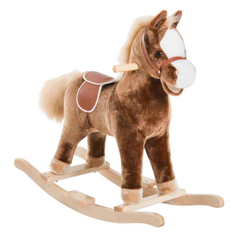 HOMCOM Baby Horse Rocker Kids Rocking Horse Animal Rocker Wooden Ride On Horse Kids Plush Rocking Horse - Brown