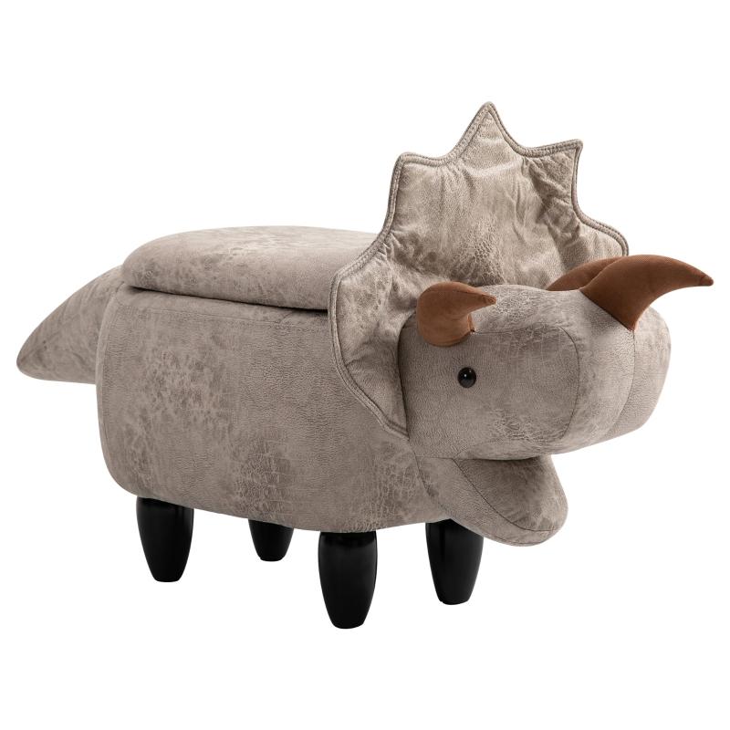HOMCOM Kids Polyester Upholstered Triceratops Storage Ottoman Grey