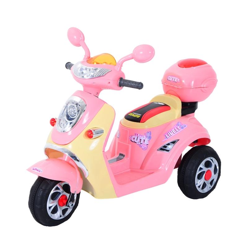 HOMCOM Plastic Music Playing Electric Ride-On Motorbike w/ Lights Pink