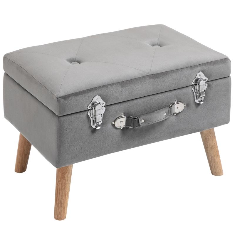 HOMCOM Faux Velvet Upholstered Ottoman Trunk w/ Wooden Legs Grey