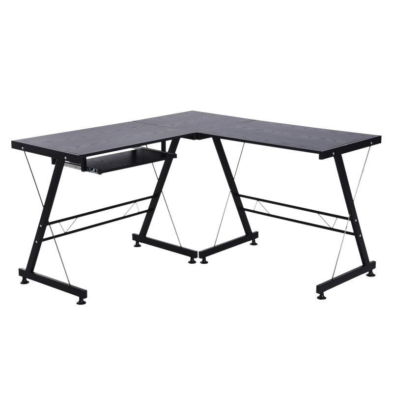 HOMCOM L-Shaped Corner Desk Computer Desk For Home Office Workstation w/Slide-Out Keyboard Tray Adjustable feet-Black