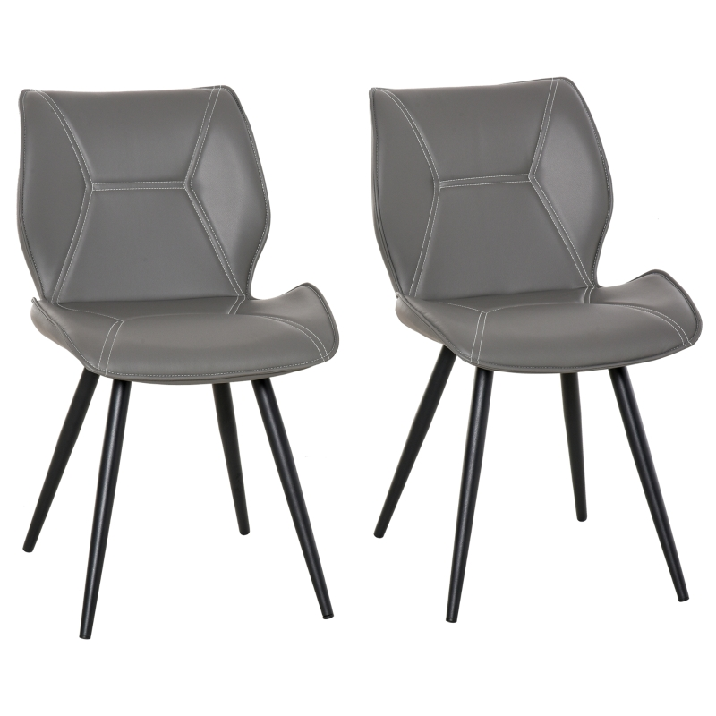 HOMCOM Set of 2 Contrast Stitched PU Leather Racing-Style Dining Chairs Accent Grey