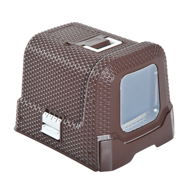 PawHut Cats PP Pull-Out Litter Box Dome with Scoop Coffee