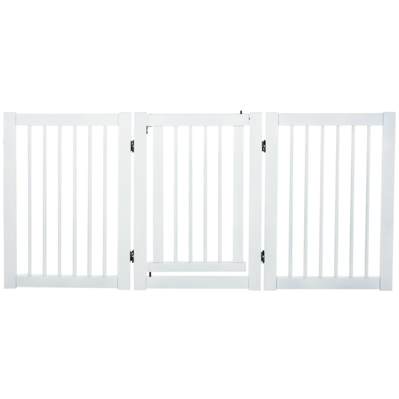 PawHut MDF Freestanding Expandable Pet Gate w/ Latched Door White