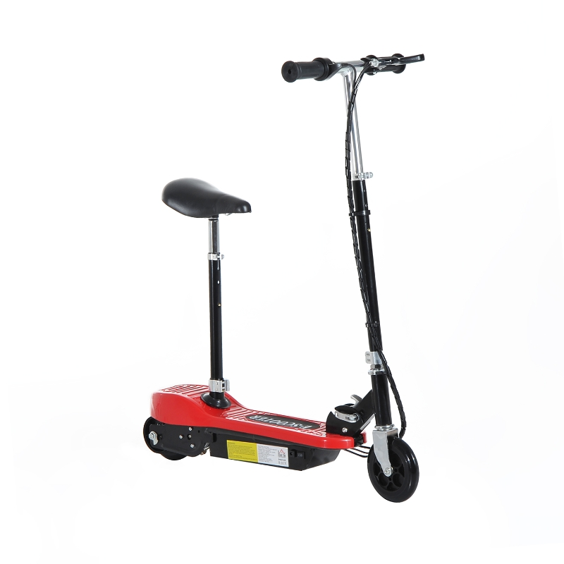 HOMCOM Kids Foldable E-Scooter W/Brake Kickstand-Red