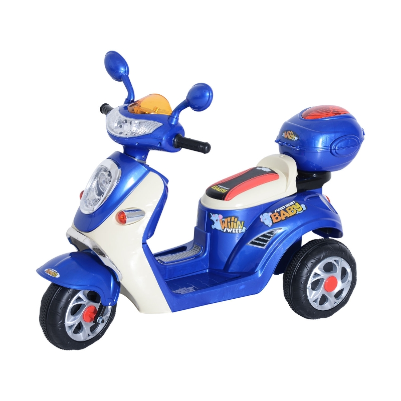 HOMCOM Plastic Music Playing Electric Ride-On Motorbike w/ Lights Blue