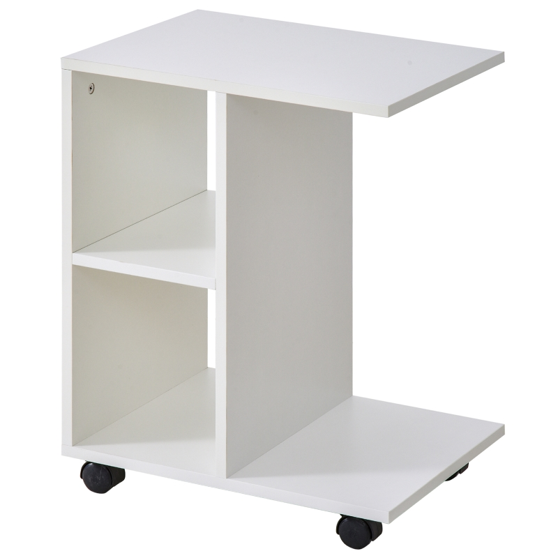 HOMCOM Particle Board C-Shaped 2-Shelf End Table White