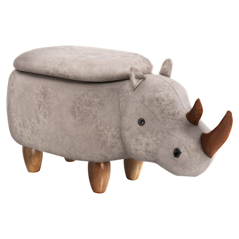 HOMCOM Polyester Upholstered Rhino Storage Stool Grey
