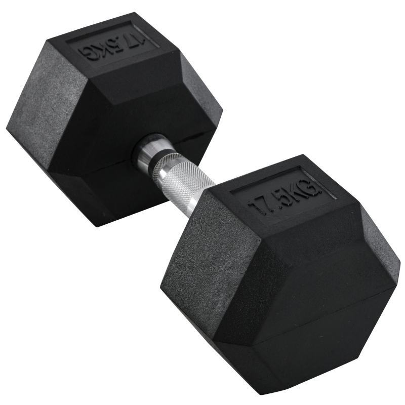 HOMCOM 17.5KG Single Rubber Hex Dumbbell Portable Hand Weights Dumbbell Home Gym