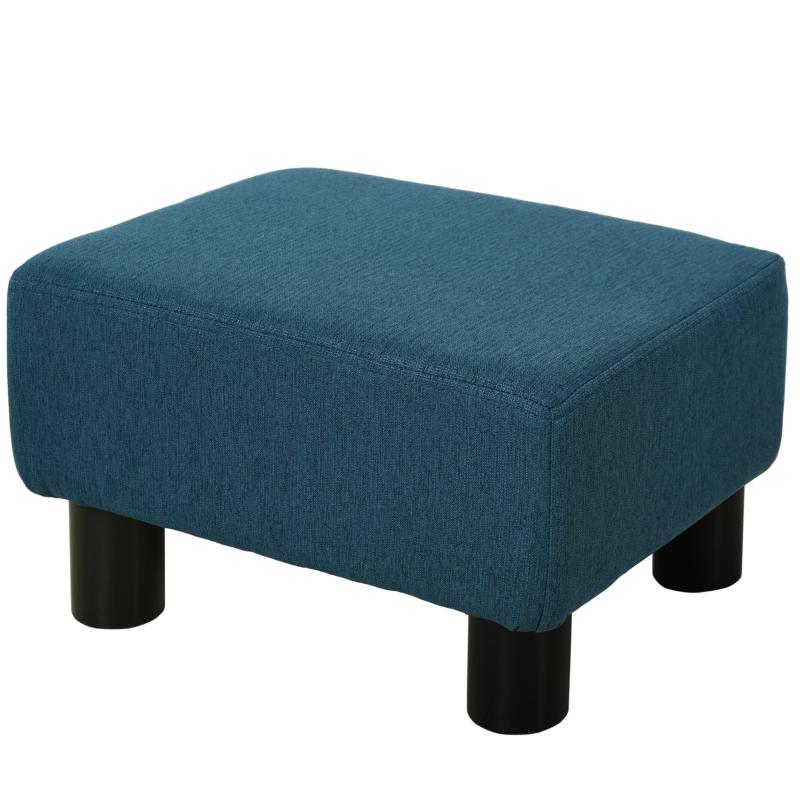 HOMCOM Linen Upholstered Footstool Blue